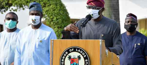 Lagos State Governor, Mr. Babajide Sanwo-Olu, addressing Lagosians on the gradual easing of COVID-19 lockdown, at Lagos House, Marina, on Saturday, August 1, 2020. With him (L-R): Commissioner for Finance, Dr. Rabiu Olowo, Deputy Governor, Dr. Obafemi Hamzat and Commissioner for Information and Strategy, Mr. Gbenga Omotoso.