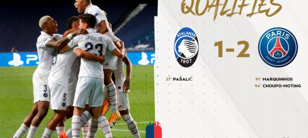 PSG team celebrate late goal against Pasalic to qualify for Champions League semi-final. [PHOTO CREDIT: Official Twitter page of PSG]