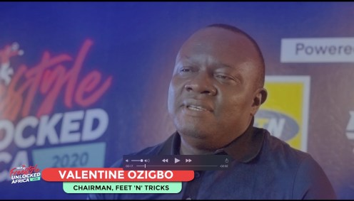 Valentine Ozigbo, Chairman of Feet N Tricks during his welcome speeach at the finals of the African Freestyle Football Championships Sunday Aug 2, 2020