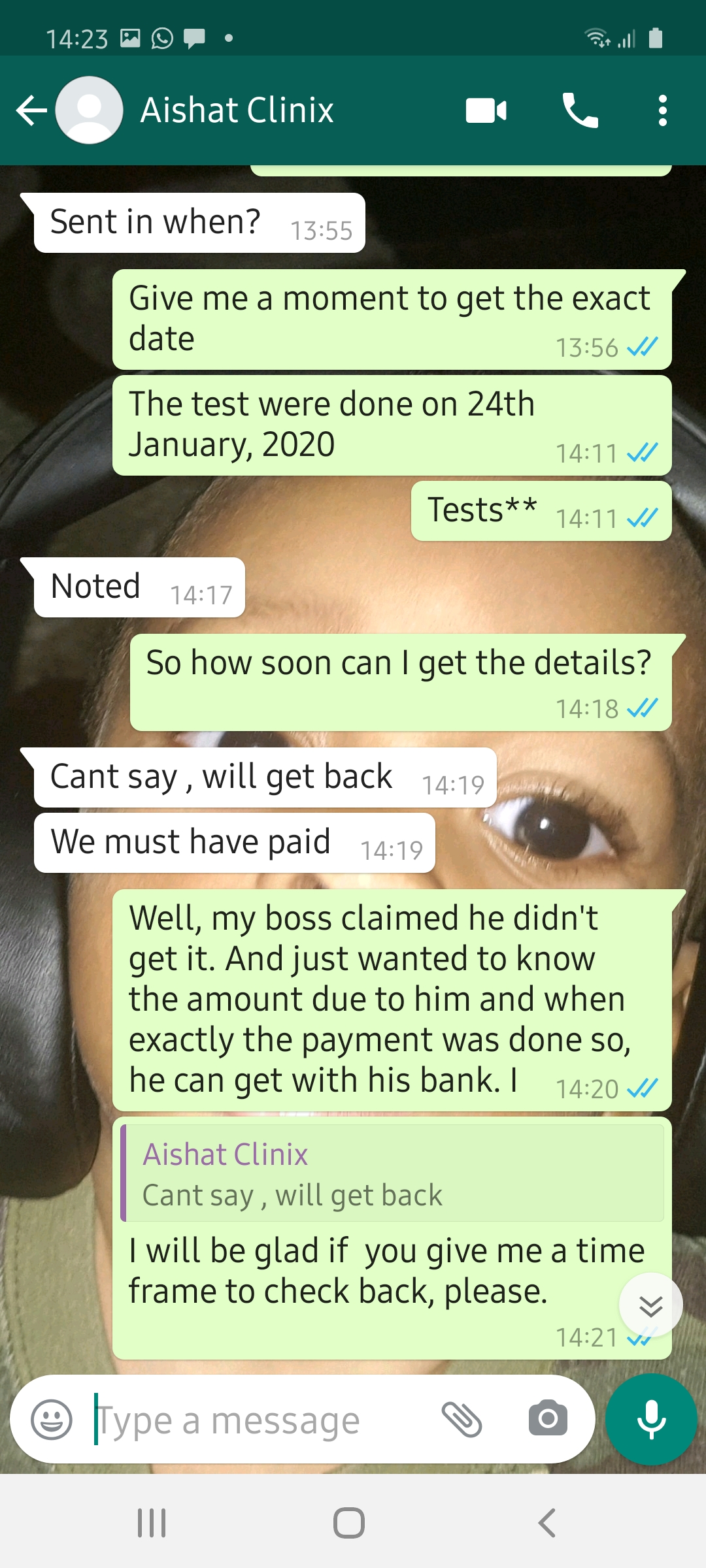 Screenshot of WhatsApp chat with Clinix sales representatives
