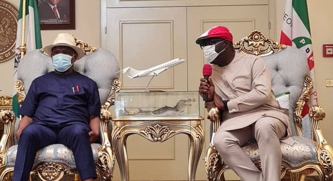 L-R: Rivers State Governor and Chairman of PDP National Campaign Council for Edo gubernatorial election, Nyesom Wike; Edo State Governor, Mr. Godwin Obaseki, during Obaseki's thank you visit, at Government House, Port Harcourt, Rivers State, on Wednesday, September 23, 2020.
