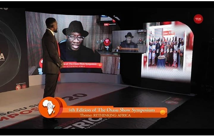 Former President Goodluck Ebele Jonathan at the Osasu Show Symposium. [PHOTO CREDIT: Official Twitter handle of TOS]