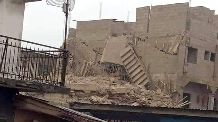 A three-storey building under construction along Azikiwe Road, in the commercial city of Aba, Abia State, collapsed