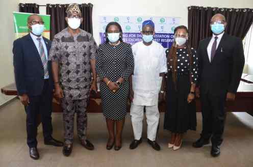 L-R: Corporate Affairs Manager, Nigerian Breweries Plc, Mr. Tayo Adelaja; Commissioner for Forestry, Ogun State, Engineer. Tunji Akinosi; Corporate Affairs Director, Nigerian Breweries Plc, Mrs. Sade Morgan; Permanent Secretary, Ministry of Forestry, Ogun State, Lateef Adegbola-Benson; Sustainability/Regulatory Relations Support Manager, Nigerian Breweries Plc, Oluwatosin Solabi and Head, Sustainability and Government Relations, Nigerian Breweries Plc, Mr. Patrick Olowokere during the signing of Memorandum of Understanding between Nigerian Breweries Plc and Ogun State government on Olokemeji Reforestation project in Abeokuta, Ogun State, yesterday.