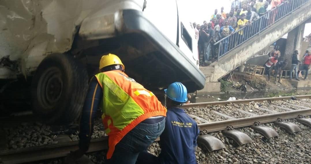 Train rams into bus in Lagos