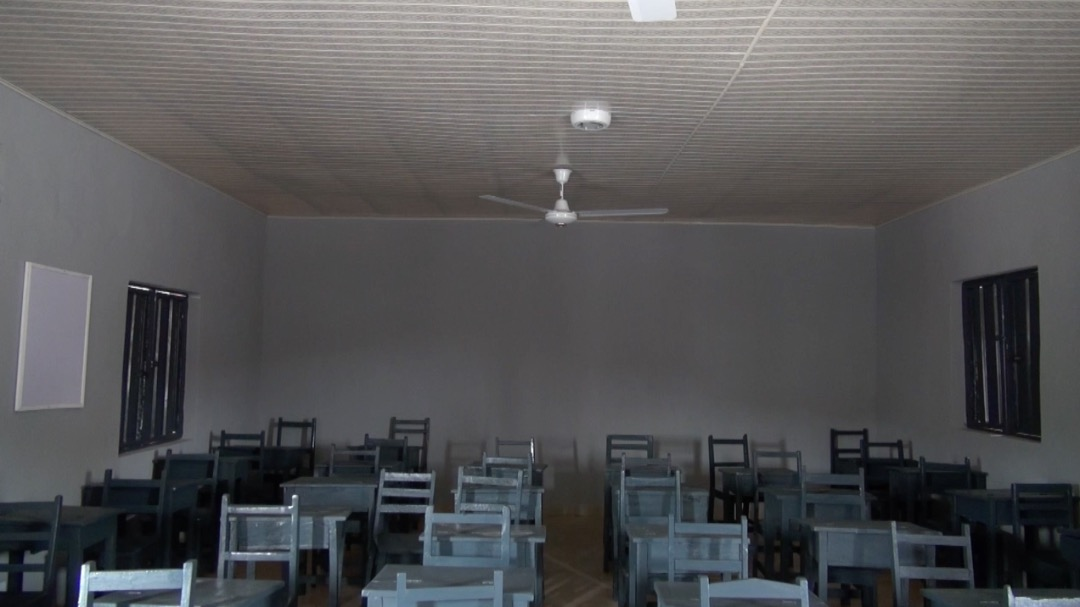 Inside one of the classroom donated by Mr Deji Bademosi