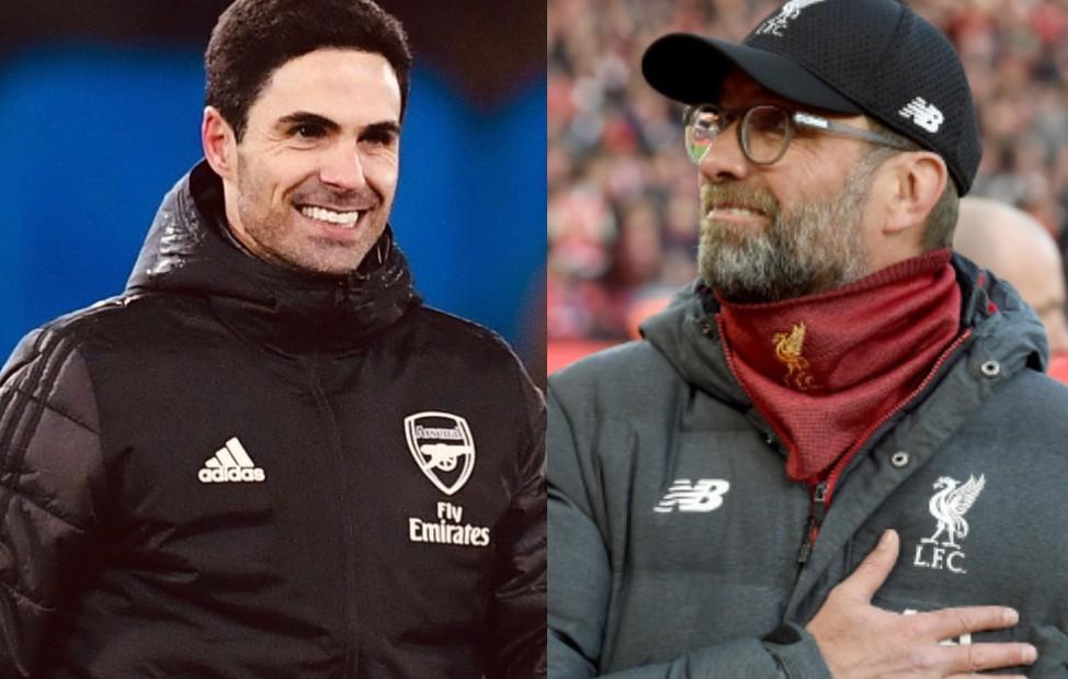 Jurgen Klopp of Liverpool and Mikel Arteta of Arsenal