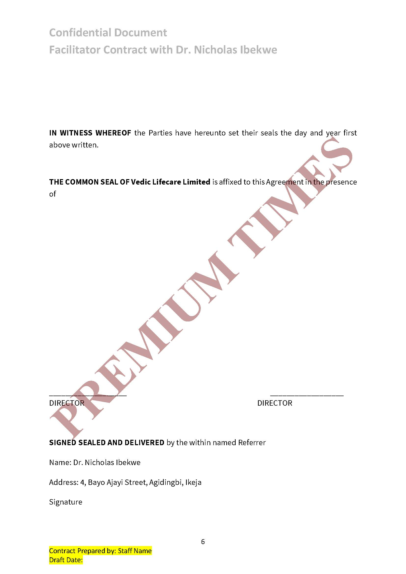 Vedic Referral Contract (Page 6)