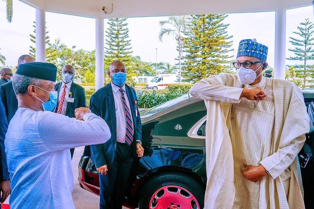 President Muhammadu Buhari at the ministers retreat [PHOTO CREDIT: @ProfOsinbajo]