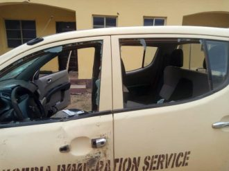 Damaged operational vehicle belonged to Immigration Service