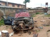 A vehicle at the police station that was burnt.