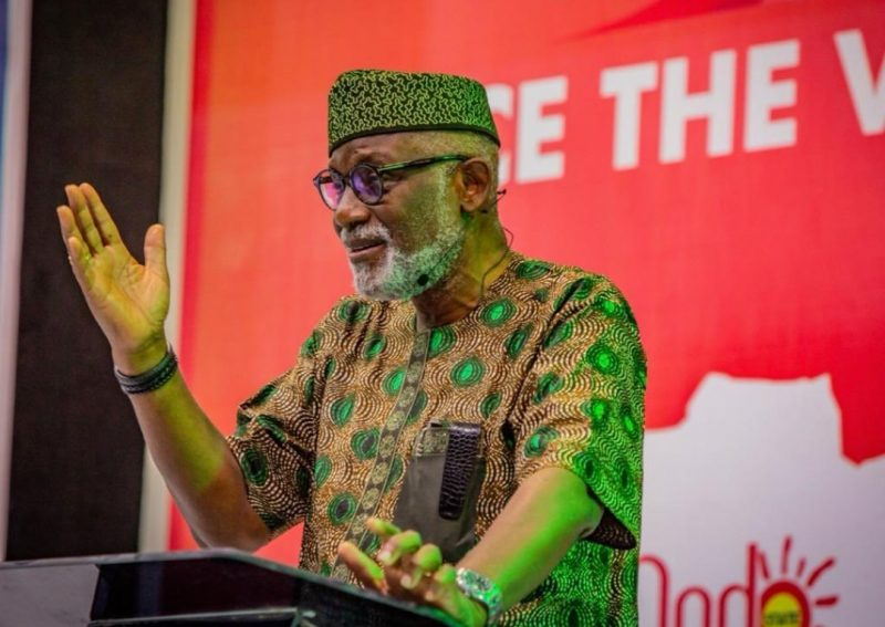 Ondo State Governor, Arakunrin Rotimi Akeredolu , SAN at the Ondo 2020 Governorship Election Debate holding at the International Culture and Event Center (DOME), Akure. [PHOTO CREDIT: @OndoAPC]