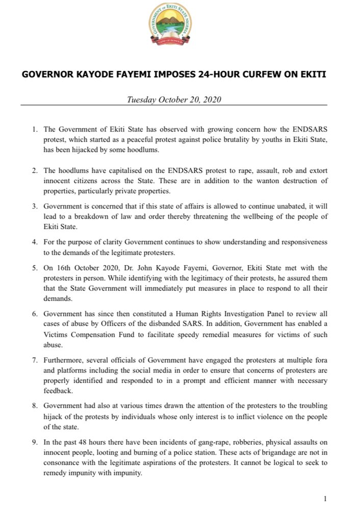 Governor Kayode Fayemi imposes 24 hours curfew on Ekiti State