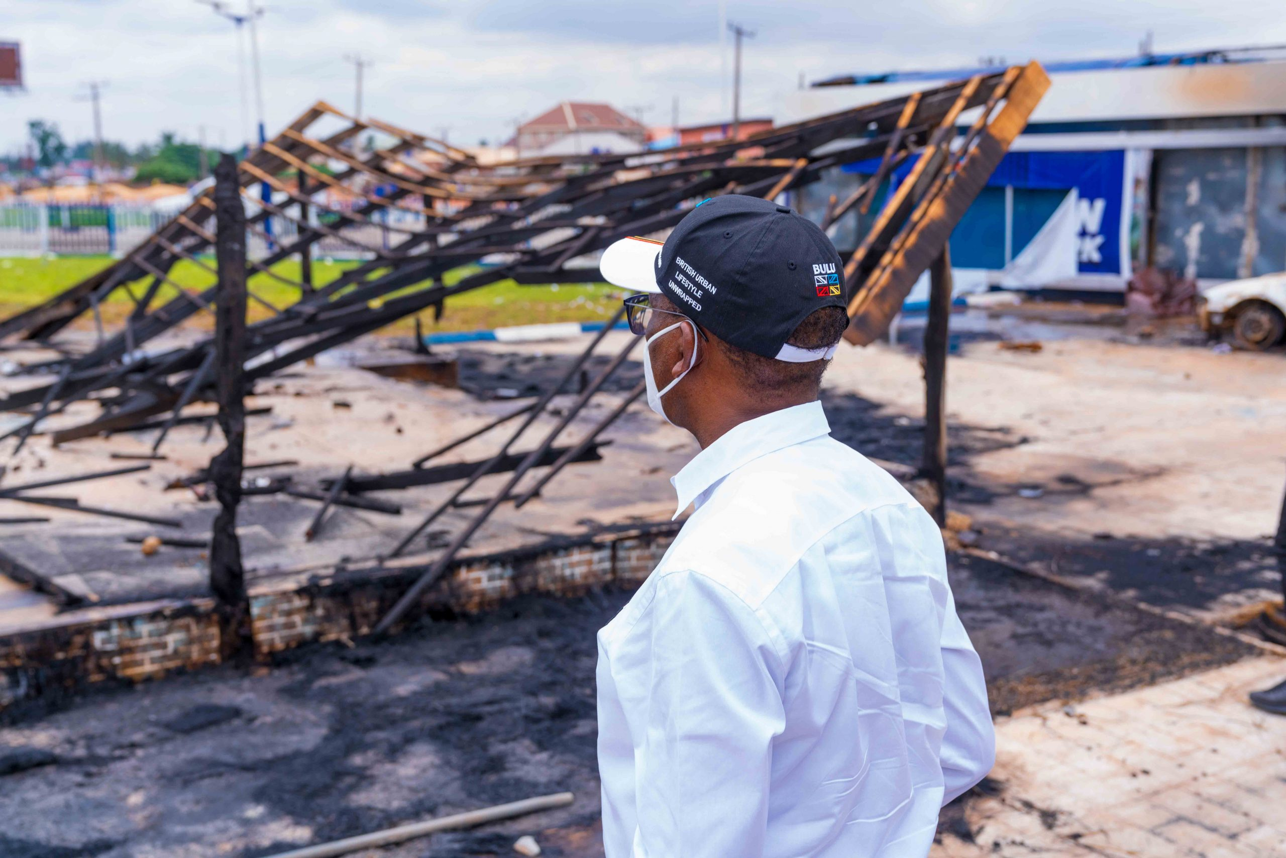 Governor Okowa during the inspection of the  burnt  public buildings and some property around the State capital.