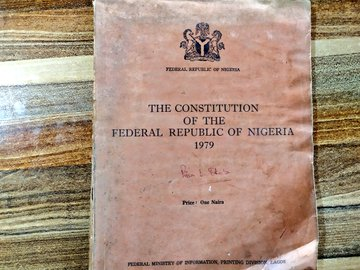 The 1979 constitution used through to the third republic before its amendment in 1999 (Credit: Twitter, @Bodasheeee).