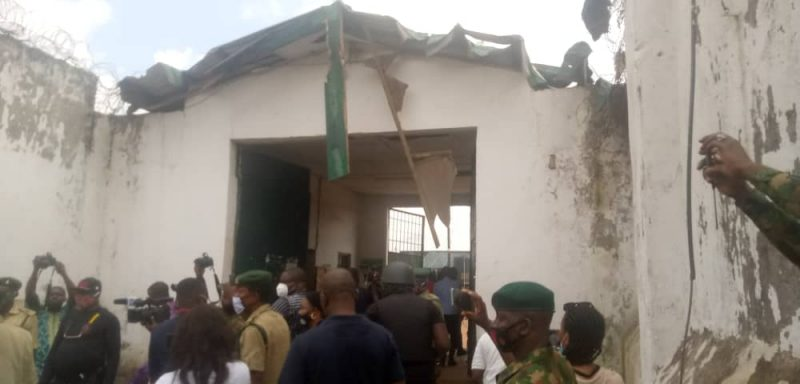 Destroyed entrance to the Benin MSCC along Sapele Road