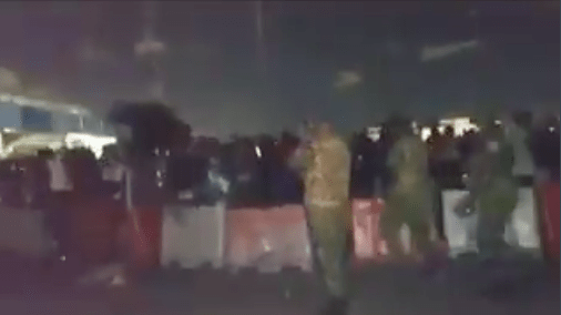 Night Images, as security operatives opened fire on peaceful unarmed #EndSARS proters at Lekki Toll Gate on 20th October, 2020 [Photo: Twitter]