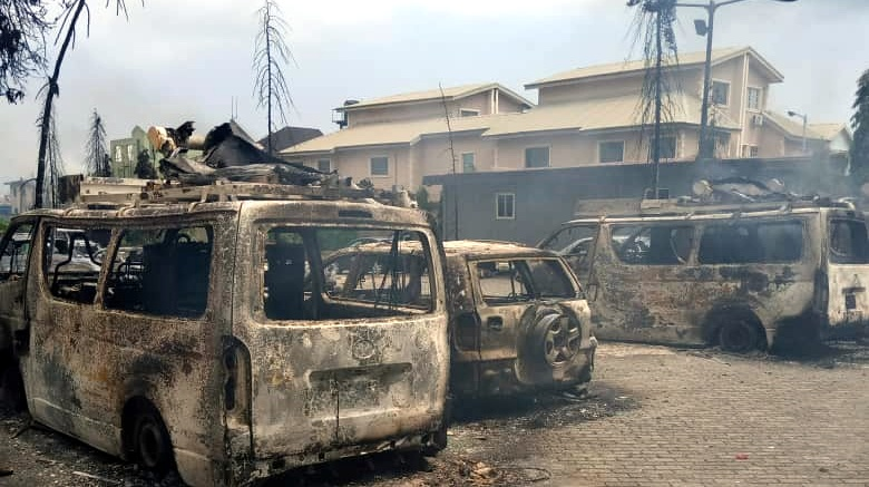 Images of burnt properties of TVC