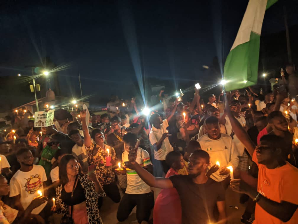 #EndSARS: Protesters hold candlenight vigil for victims of police brutality in Ibadan