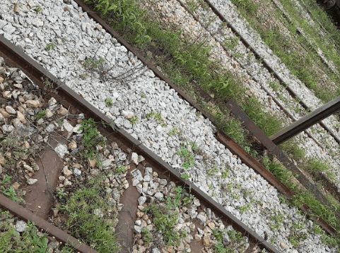 Inside Makurdi station where a staff said balance stones were used by CGGC to make the rails appear new though old rails kept in the stores were used.