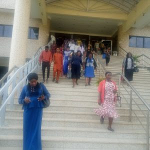 Federal High Court Abuja staff leaving the office for their various homes shortly after the instruction from the National Judicial Council (NJC) on Wednesday.