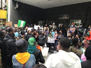 Anti-SARS protesters gathered in front of the Nigeria House on Second Avenue in Manhattan, New York, on Sunday, Oct. 11, 2020.