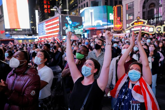 Thousands flock to Times Square to celebrate Joe Biden's victory [PHOTO:  TW @nypost]