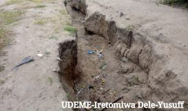 Erosion eaten land at Federal Housing Estate, Eruwa, Oyo state. (1)