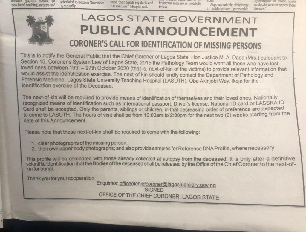 Coroner calls on families to identify missing persons at Lagos mortuary