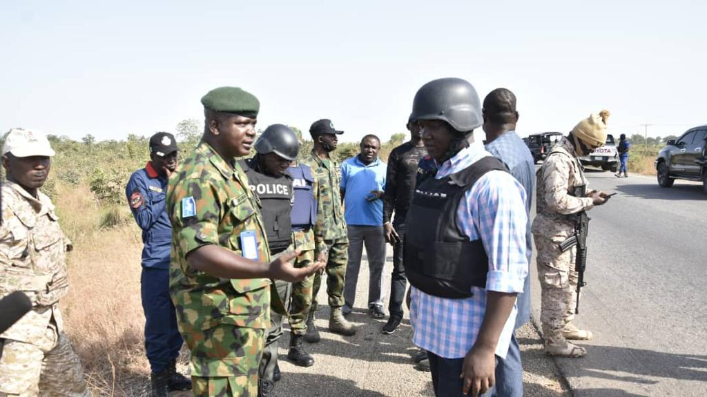 Military and police officers on joint patrol on Kaduna-Abuja road