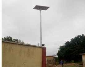 One of the solar street lights inside Sunday Adepoju's compound at Federal Housing Estate, Eruwa, Oyo state.