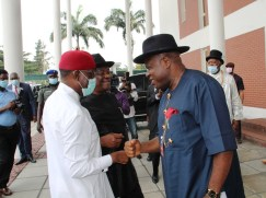 Pix 11. Delta Governor, Senator Dr. Ifeanyi Okowa (left); his Rivers State counterpart, Barr. Nyesom Wike (middle) and Bayelsa State Governor, Senator Douye Diri, (right)during the South-South Leaders Meeting with the Presidential delegation held in Government House, Port Harcourt. Tuesday 24/11/20 .PIX: JIBUNOR SAMUEL.