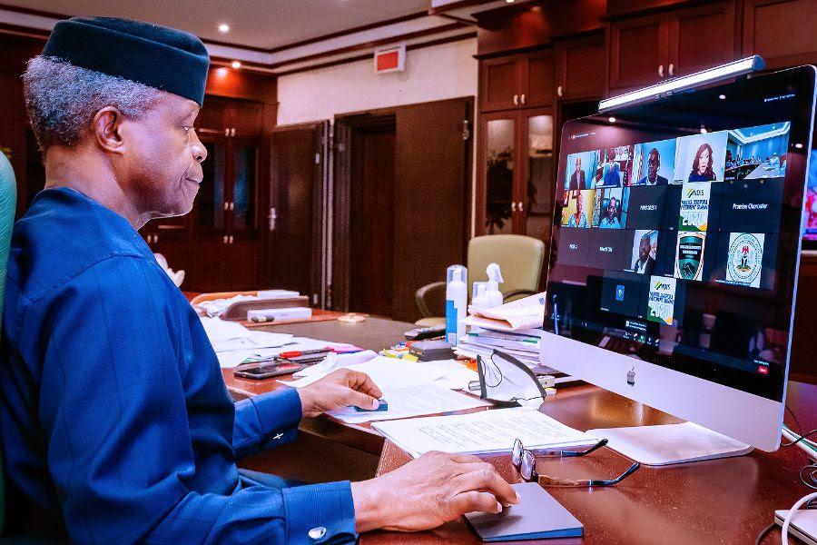 Vice President Yemi Osinbajo SAN delivers the keynote address at The Nigeria Diaspora Investment Summit. 20th Nov, 2020. Photos; Tolani Alli