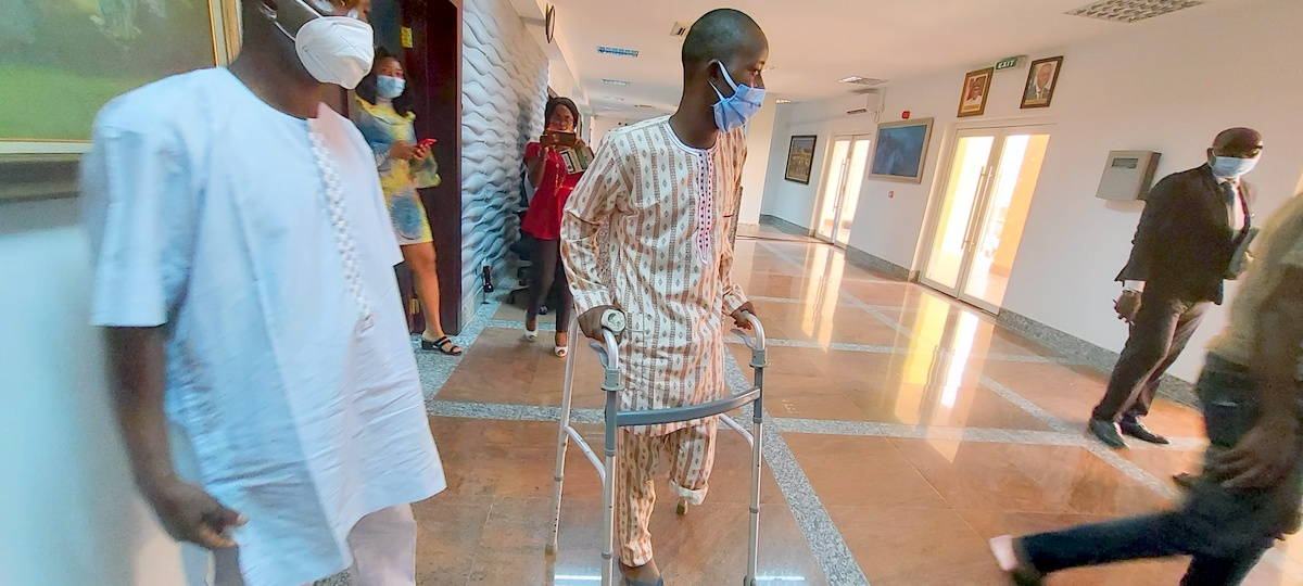 Lucky Philemon lost his left leg after soldiers shot him