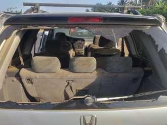 Vandalised vehicle [PHOTO CREDIT: @senatororiolowo]