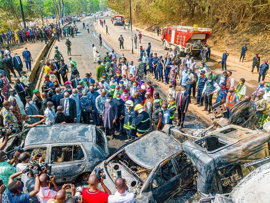 The scene of tanker explosion in Abeokuta [PHOTO CREDIT: @dapoabiodunmfr]
