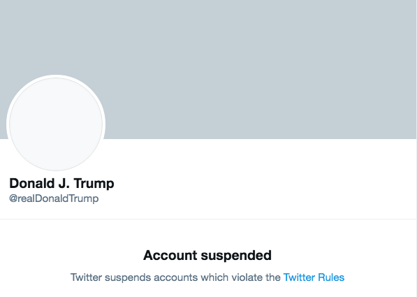 A screenshot of Trump's suspended twitter page