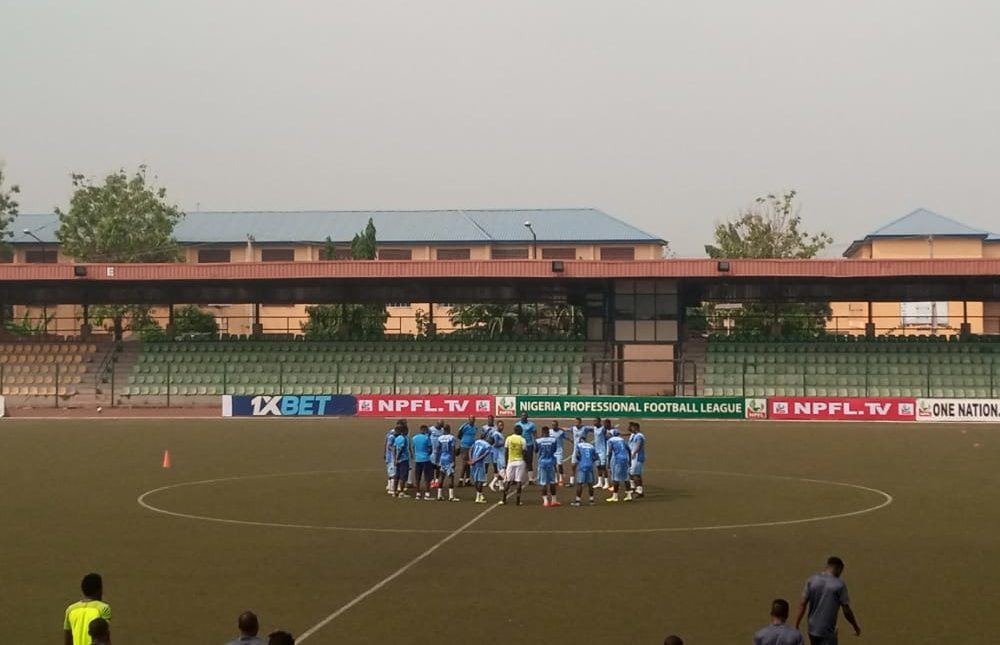 MFM Players rounding off their warm-up session ahead of the kickoff