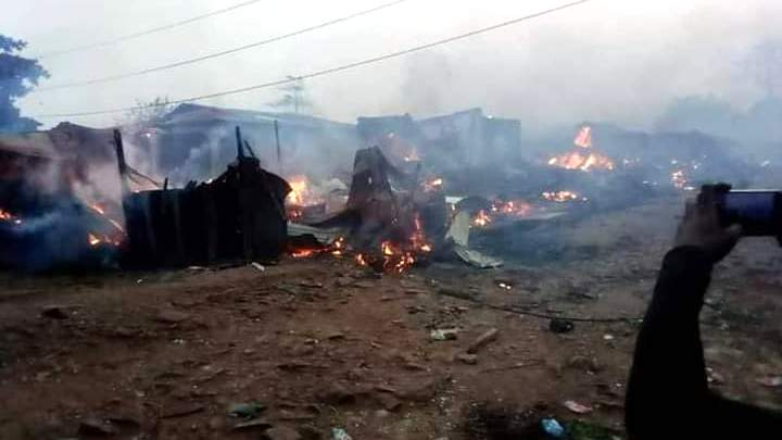 Pictures of destruction during violent killings in Ibadan.