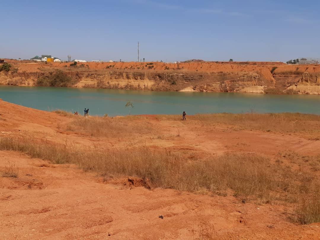 Abandoned mining pond turned dam at Drua Mine