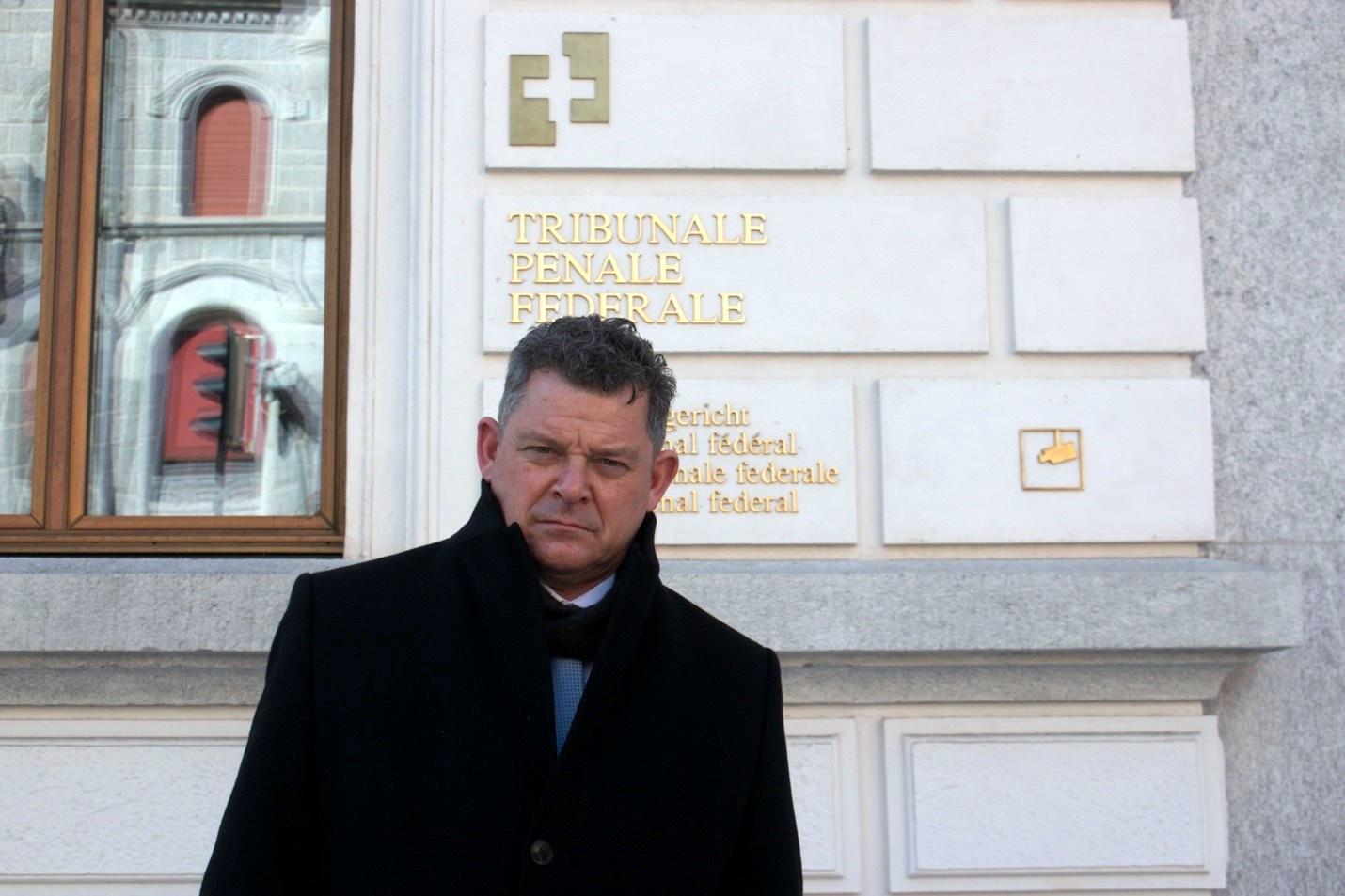 Dmitri Gianoli, lawyer of war crimes suspect Alieu Kosiah, before the Federal Criminal Court court Bellinzona, Switzerland. New Narratives/James Harding Giahyue