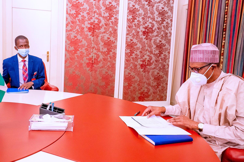 President Muhammadu Buhari receives new EFCC Chairman, Abdulrasheed Bawa [PHOTO CREDIT: @BashirAhmaad]