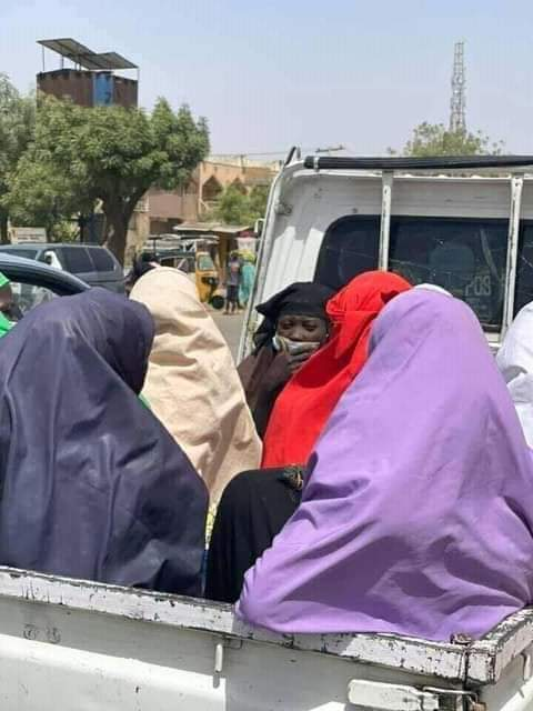 Women on mini van on Monday following the strike of Tricycles Riders