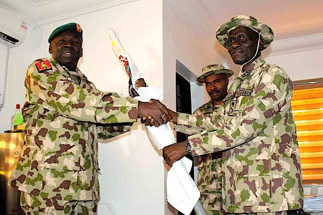 Maj. Gen. Lucky Irabor handed over to Maj. Gen. Ibrahim Attahiru as Theatre Commander, Operation Lafiya Dole, in Maiduguri in 2017