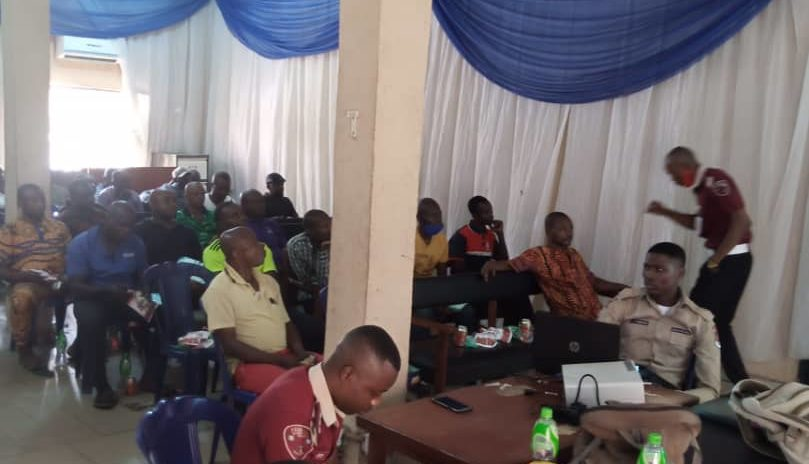 Image Caption: Peace Mass Transit drivers attending a training session by the FRSC in Enugu.