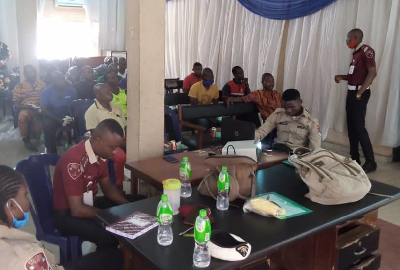 Peace Mass Transit drivers attending a training session by the FRSC in Enugu.