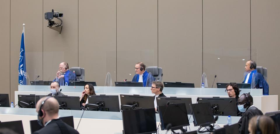 Judges of ICC Trial Chamber IX pronouncing the verdict against Dominic Ongwen on 4 February 2021 ©ICC-CPI