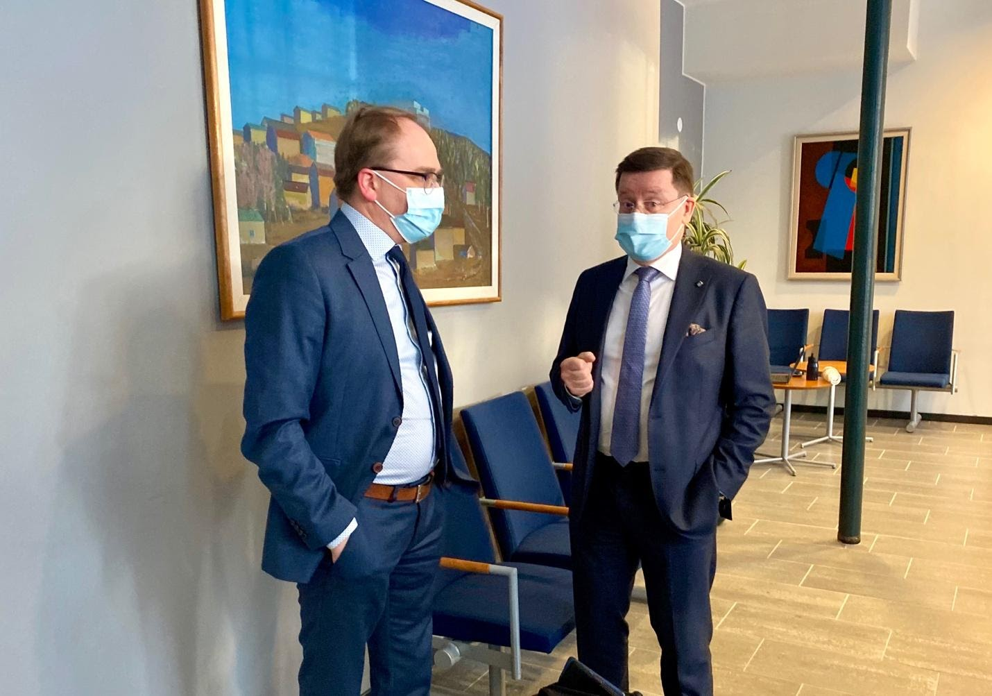 Finnish state prosecutor Tom Laitinen (left) and Massaquoi's defense lawyer Kaarle Gummerus outside the courtroom on Monday. FrontPage Africa/Saila Huusko