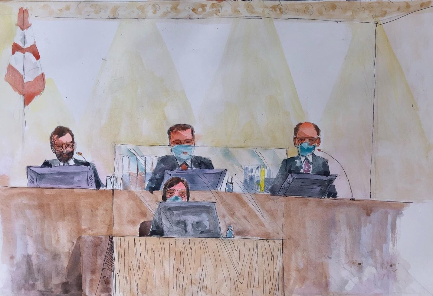 The three-judge panel hearing Alieu Kosiah case and the court's clerk. New Narratives/Leslie Lumeh