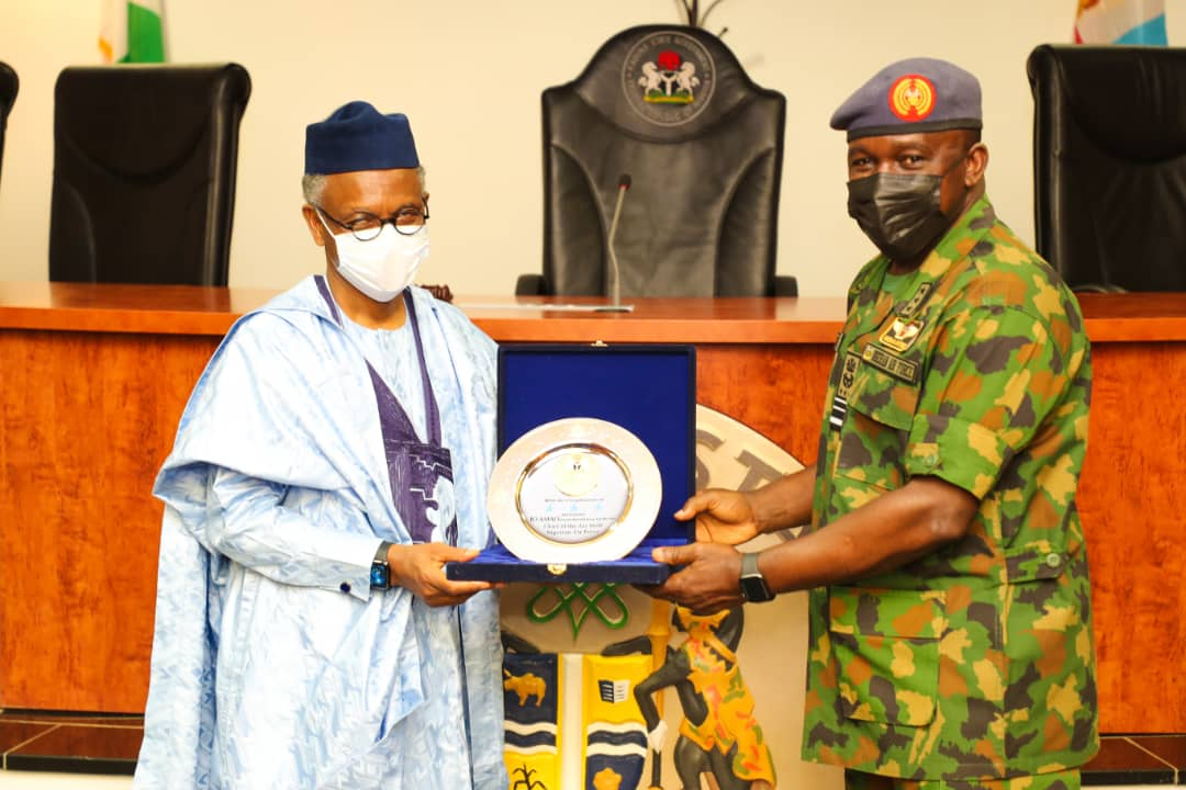 CAS on a courtesy visit to Governor Nasir El-Rufai [PHOTO CREDIT: @NigAirForce]